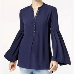 Free People Bell Sleeve Henley Top Navy Blue